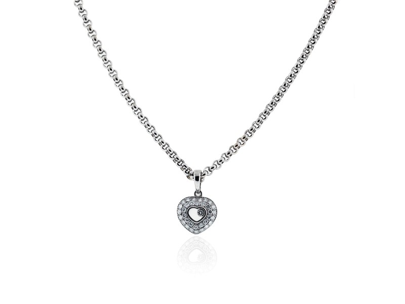 Chopard 18K White Gold Happy Diamond Heart Necklace