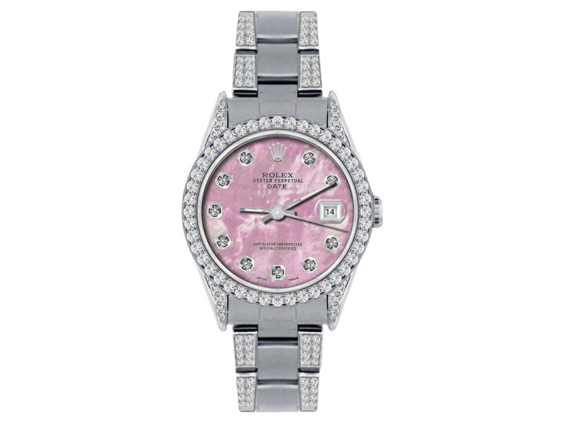 Rolex Date Stainless Steel Pink MOP & 4.5ct Diamond 34mm Watch