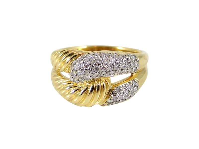 David Yurman 18K Yellow Gold 0.51tcw Diamond Infinity Ring Size 9