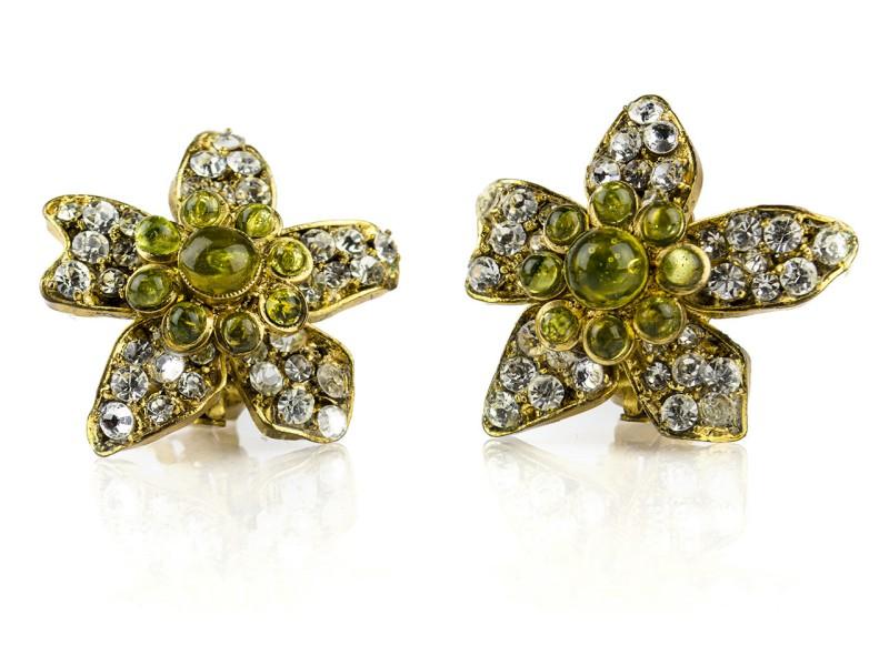 Chanel Gold Rhinestone Floral Earrings