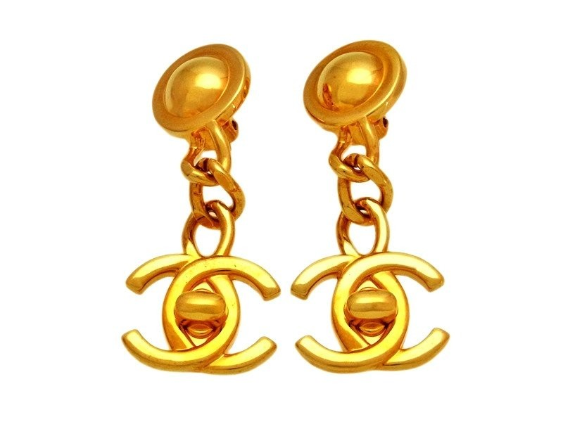 Chanel CC Logo Gold Tone Metal Turnlock Dangle Earrings