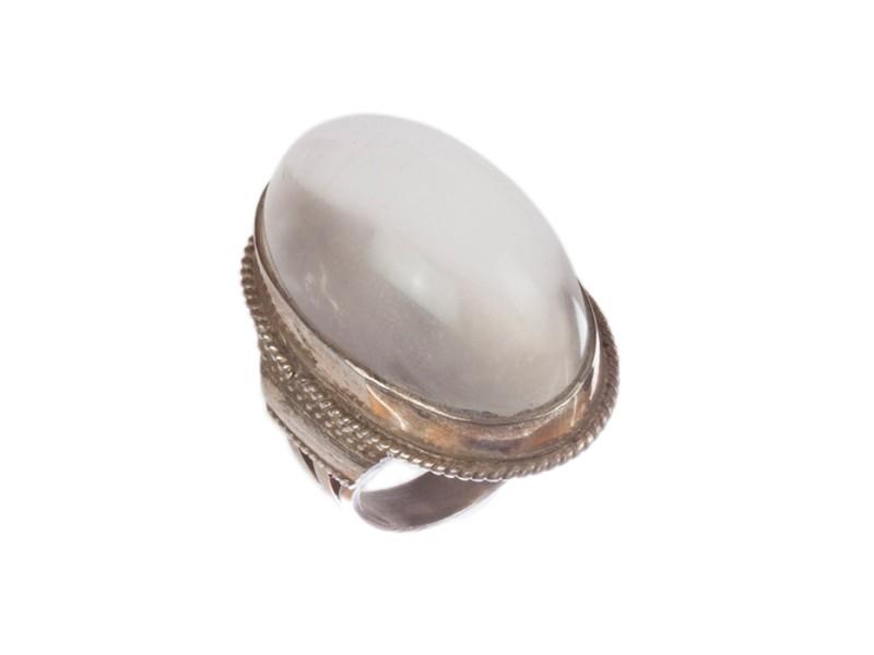 Massive Grey Moonstone Cabochon Cocktail Ring
