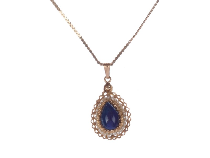 14 kt Gold Lapis Lazuli and Sea Pearl Pendant Necklace
