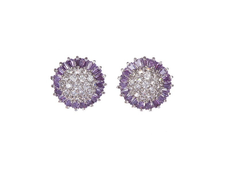 Sterling Silver and Amethyst Cubic Zirconia Earrings
