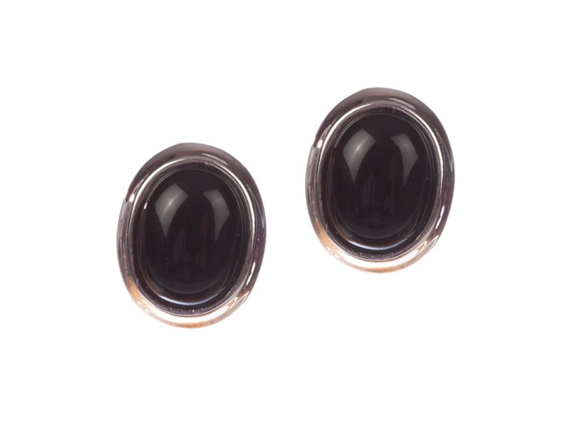 Sterling Silver Black Onyx Cabochon Earrings