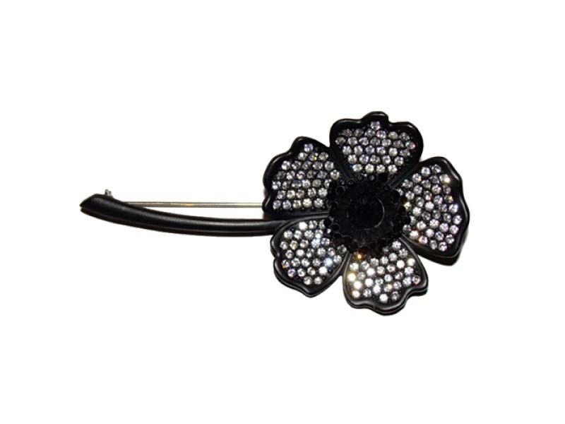 Givenchy Gunmetal Rhinestone Flower Pin