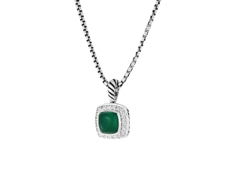 David Yurman Petite Albion Green Onyx & Diamonds Pendant Chain Necklace