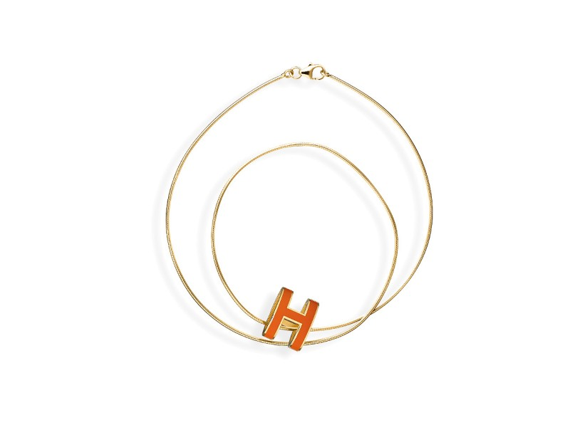 Hermes Pop H Orange Necklace