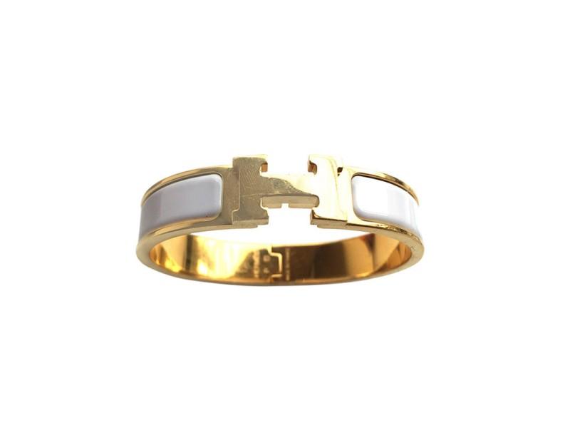 Hermes H Gold Tone Bracelet