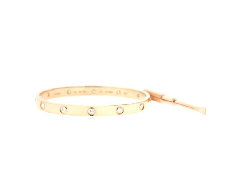 Cartier Love B6040617 Bracelet Rose Gold Full Diamond Size 16