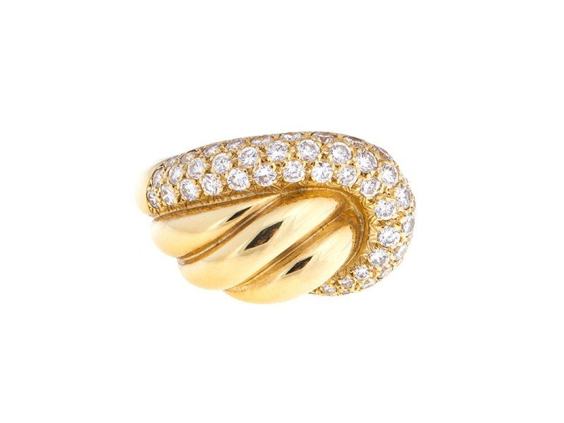 Van Cleef and Arpels 18k Yellow Gold Diamond Band Ring
