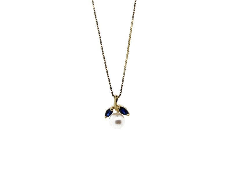 Marquise Sapphires and Fresh Water Pearl Yellow Gold Pendant Necklace