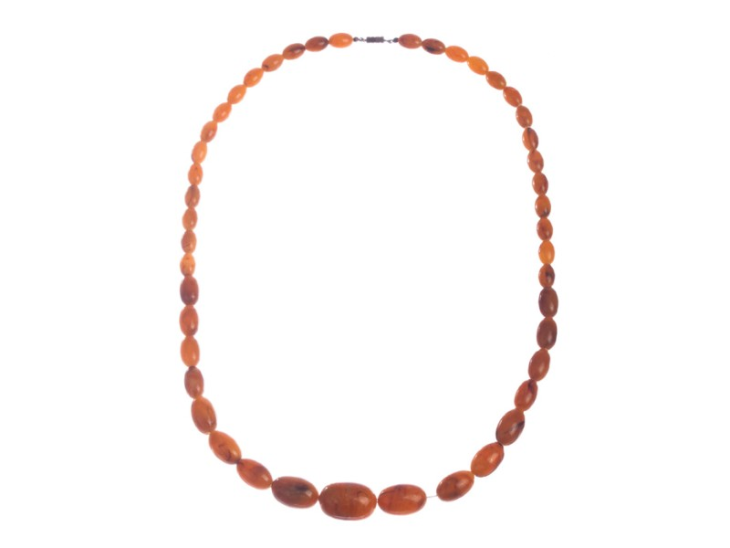 Orange Bakelite Faux Amber Bead Necklace