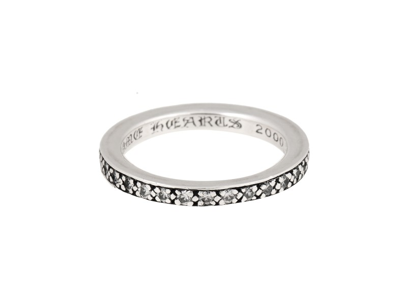 Chrome Hearts 925 Sterling Silver & 1ct Diamond Eternity Band Ring Size 8.75
