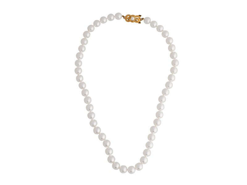 Mikimoto 18k Yellow Gold Pearl Strand Necklace
