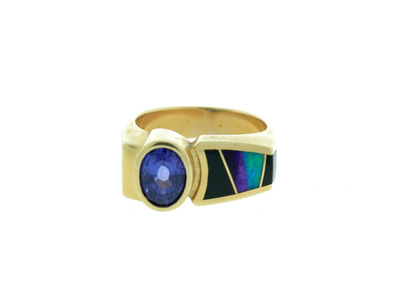 14K Yellow Gold Amethyst Black Onyx & Opal Men's Ring