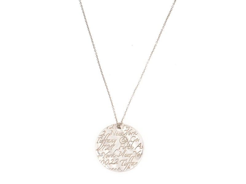 Tiffany co notes 5th ave new york disc sterling silver pendant tiffany co notes 5th ave new york disc sterling silver pendant necklace audiocablefo Light gallery