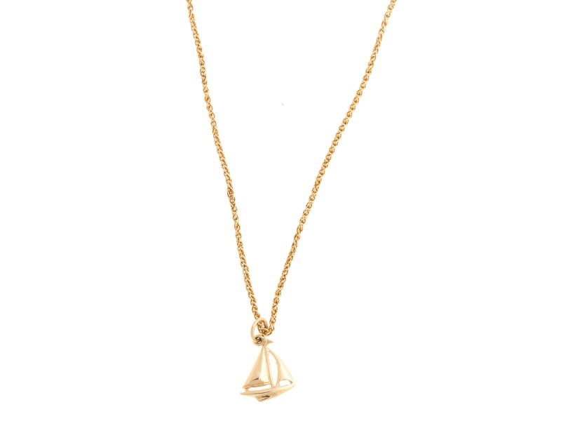 14k Yellow Gold Sail Boat Pendant Necklace