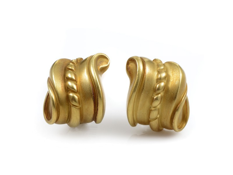Kieselstein-Cord 18K Yellow Gold Carved Huggie Earrings