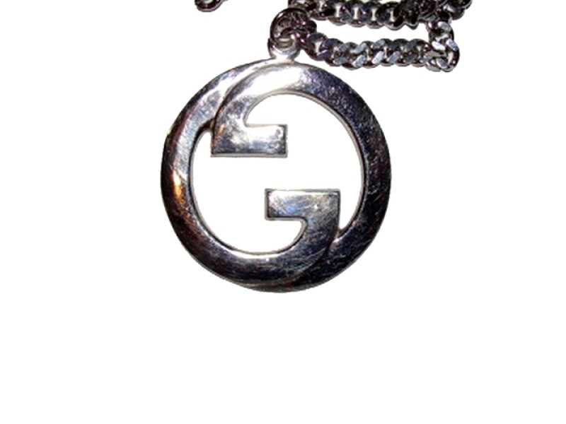 Large Rhoduim Sterling Silver Plated Gucci Pendant Necklace