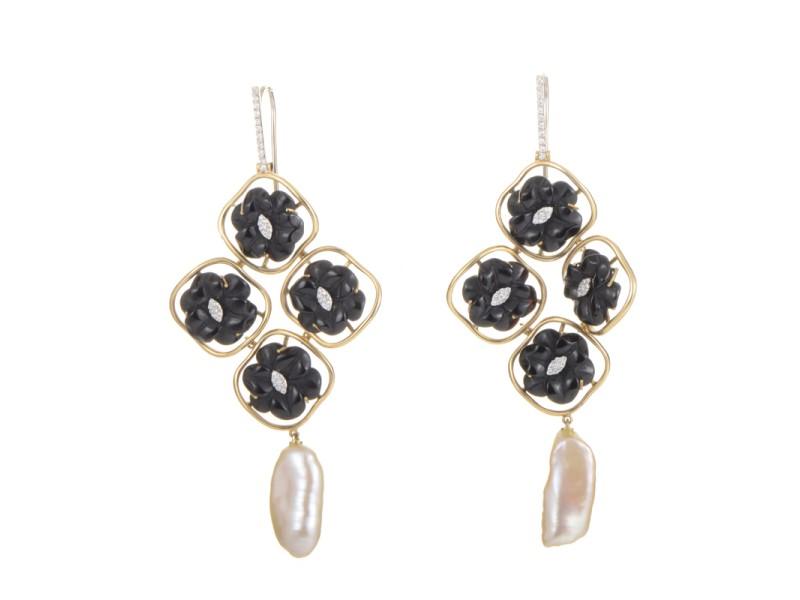 LeaderLine 18K Multi-Gold Onyx & Pearl Chandelier Earrings