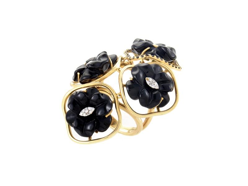 18K Yellow Gold Multi-Diamond & Onyx Flower Ring