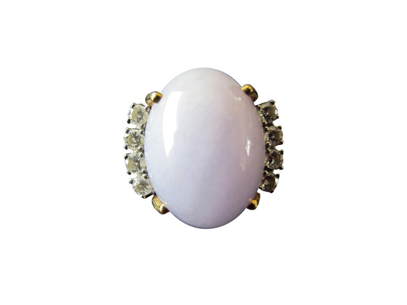 14K Yellow Gold Lavender Jadeite and Diamond Cocktail Ring Size 6.5