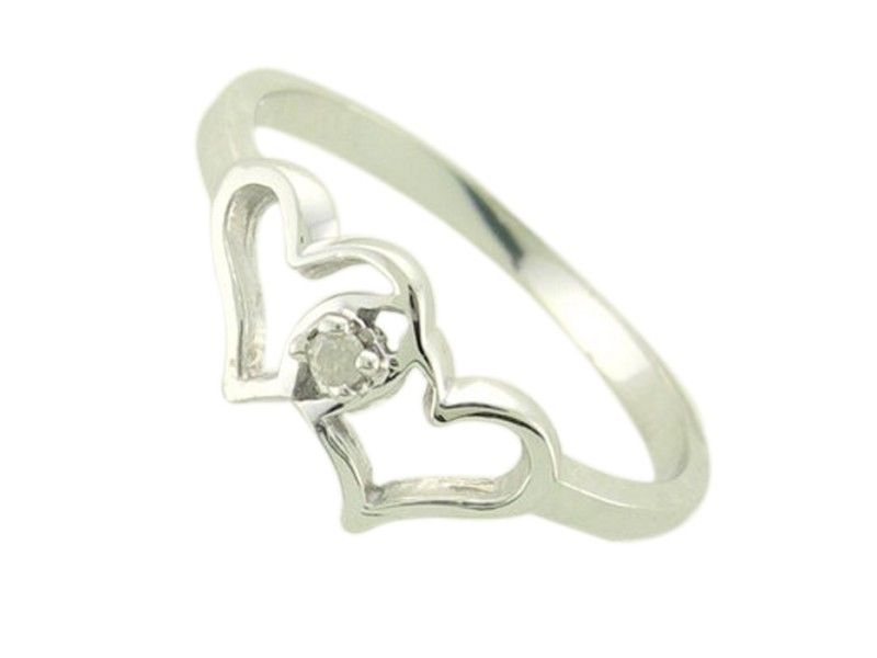 Genuine Diamond Heart Shaped Promise Ring 10 kt White or Yellow Gold