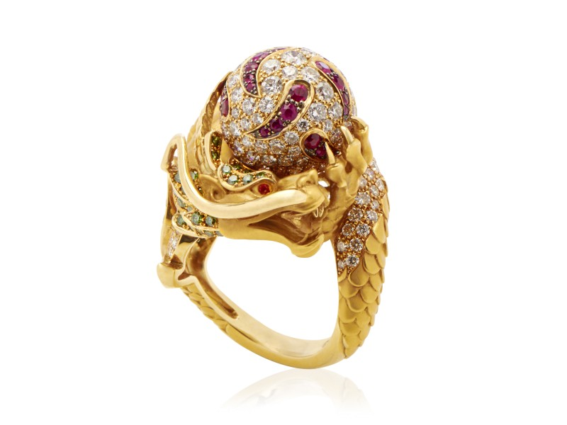18K Yellow Gold Multi-Diamond & Gemstone Dragon Ring Size 6.75
