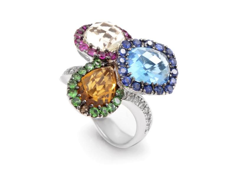 18K White Gold Rainbow Gemstone & Diamond Ring