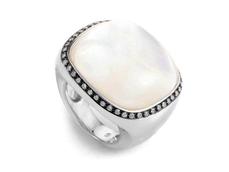 18K White Gold Moonstone & Diamond Ring