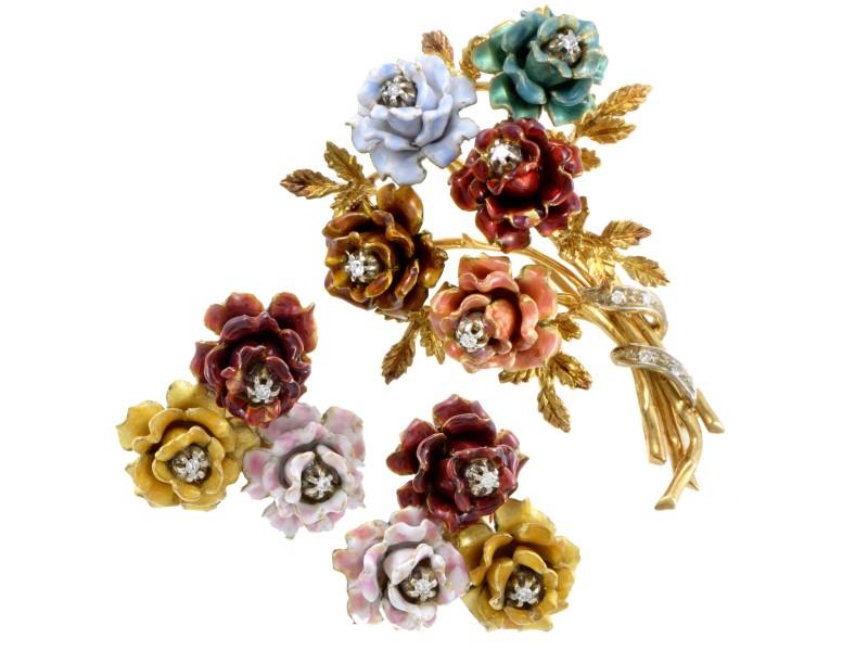 18K Yellow Gold & Diamond Floral Brooch Earring