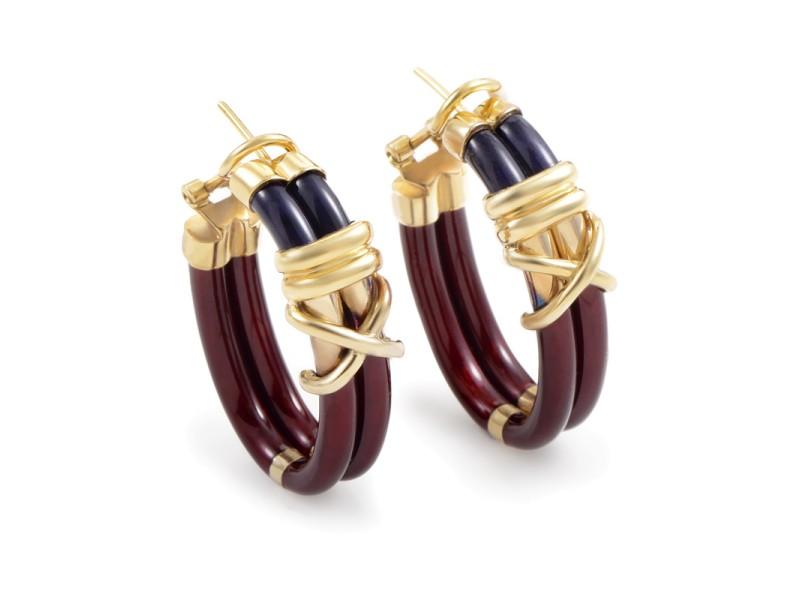 Nouvelle Bague 18K Yellow Gold & Enamel Hoop Earrings