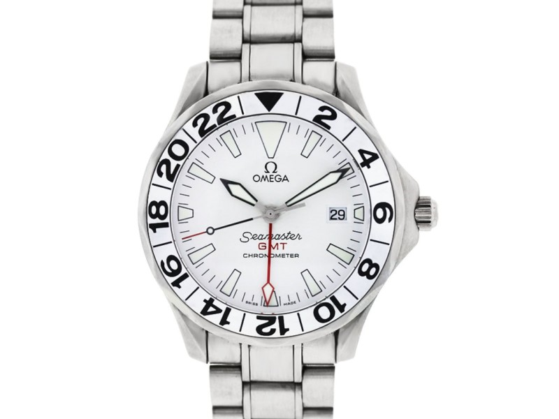 Omega Seamaster GMT 41mm Stainless Steel White Dial Watch