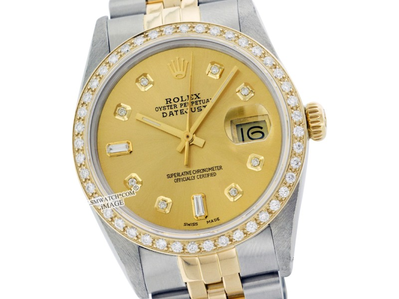 Rolex Datejust 16013 36mm Stainless Steel Yellow Gold Diamond Watch