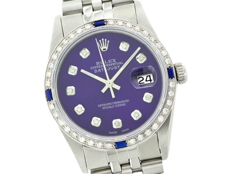 Rolex Datejust 16014 Stainless Steel Purple Dial Diamond & Sapphire 36mm Mens Watch