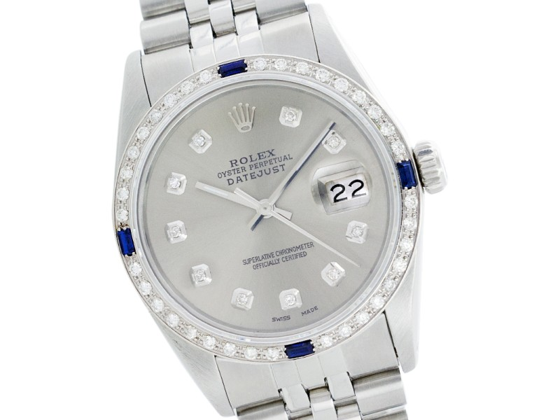 Rolex Datejust 16104 Stainless Steel Silver Diamond Dial & Sapphire 36mm Mens Watch