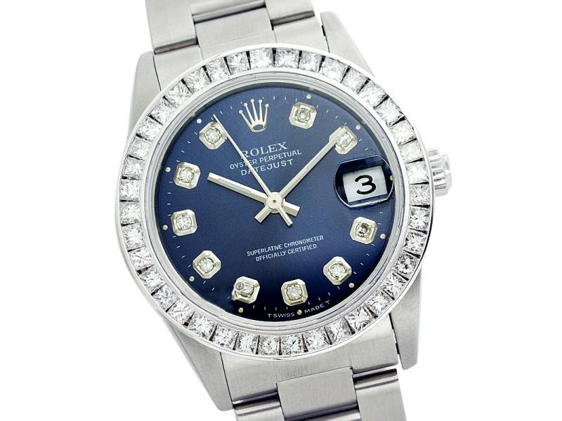 Rolex Datejust 78240 31mm Stainless Steel Blue Diamond Watch
