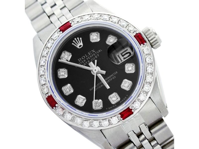 Rolex Datejust 6917 Stainless Steel Diamond & Ruby 26mm Womens Watch