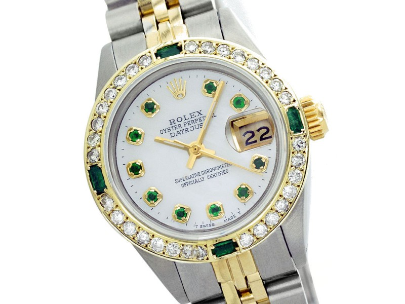Rolex Datejust 69173 26mm Mop Diamond Emerald Two-Tone Watch