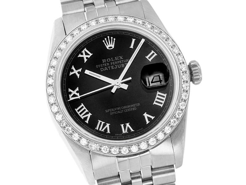 Rolex Datejust 16014 Stainless Steel Black Roman Diamond 36mm Watch