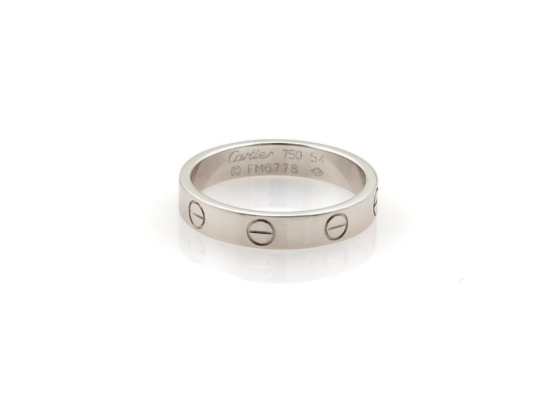 Cartier Mini Love 18k White Gold 3.5mm Band Ring Size EU 54-US 6.75