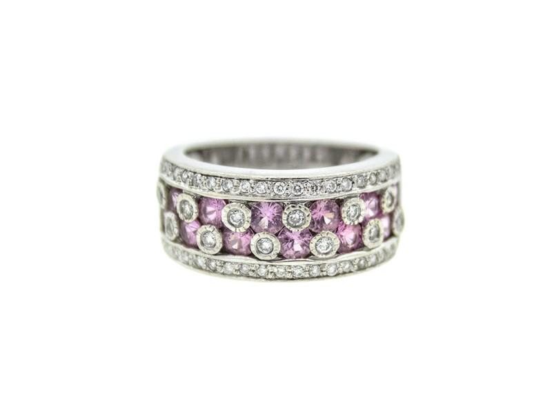Le Vian 14k White Gold Diamond and Pink Sapphire Ring