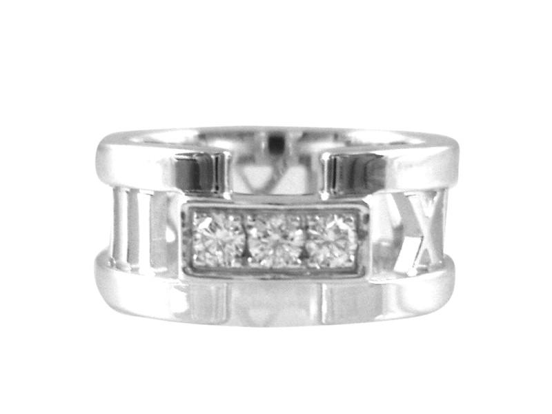 tiffany u0026 co18k white gold atlas 3 diamond open wedding band ring