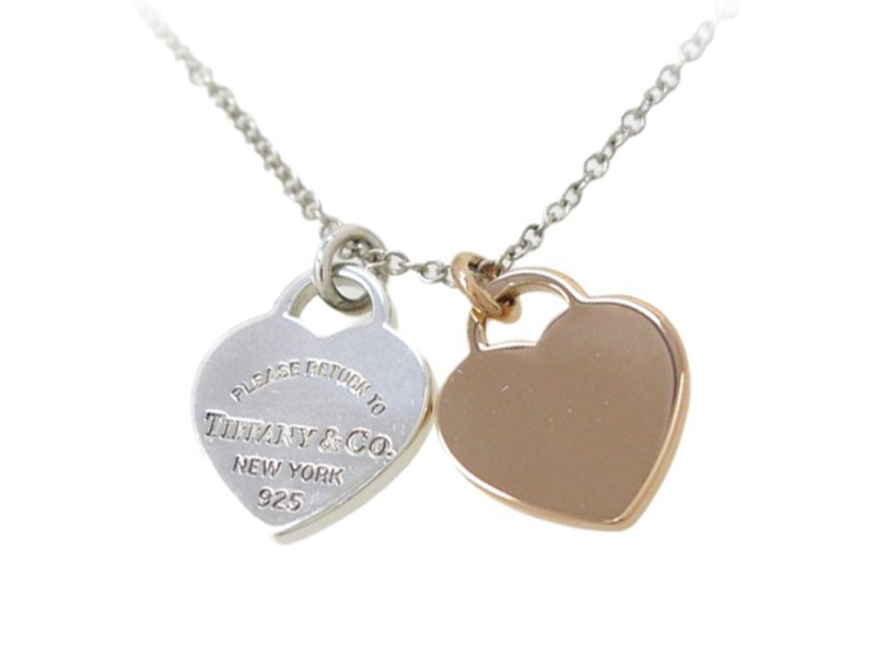 Tiffany & Co. 925 Sterling Silver And 18K Rose Gold Return To Tiffany Necklace