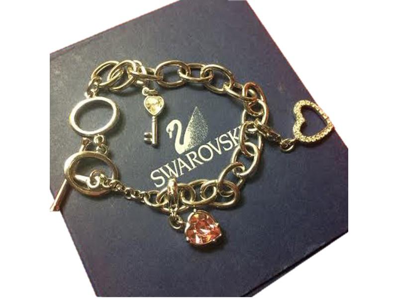 Swarovski Pink Heart Lock Bracelet