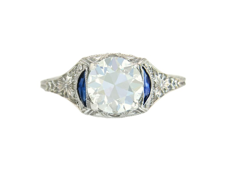 18K White Gold 1.28ct Diamond & Sapphire Engagement Ring Size 5.5