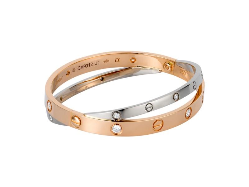 Cartier Love Bracelet R/G & W/G Size 16