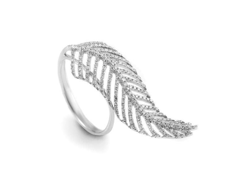 18K White Gold Diamond Feather Ring