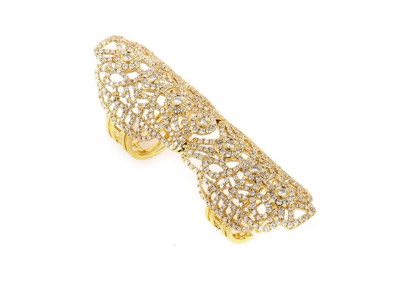 18K Yellow Gold & Diamond Full Finger Armor Ring
